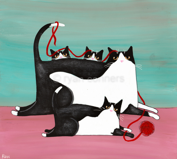 Mother's Day Mom and Kittens Original Cat Folk Art Acrylic Painting