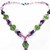 Pink Green Glass Beadednecklace featuring pastel color combinations, Green Glass