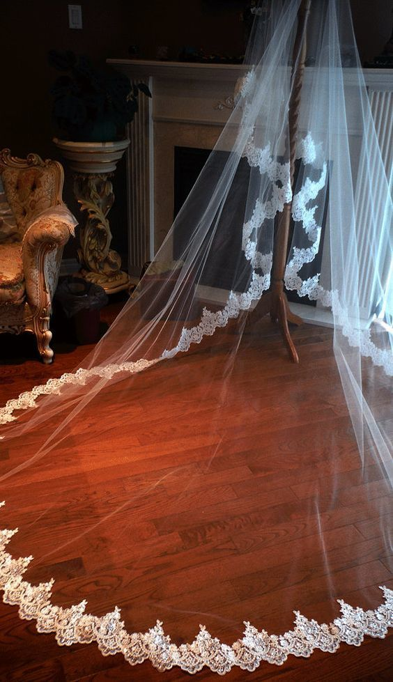Lace wedding veil, cathedral wedding veil, cathedral veil, lace veil