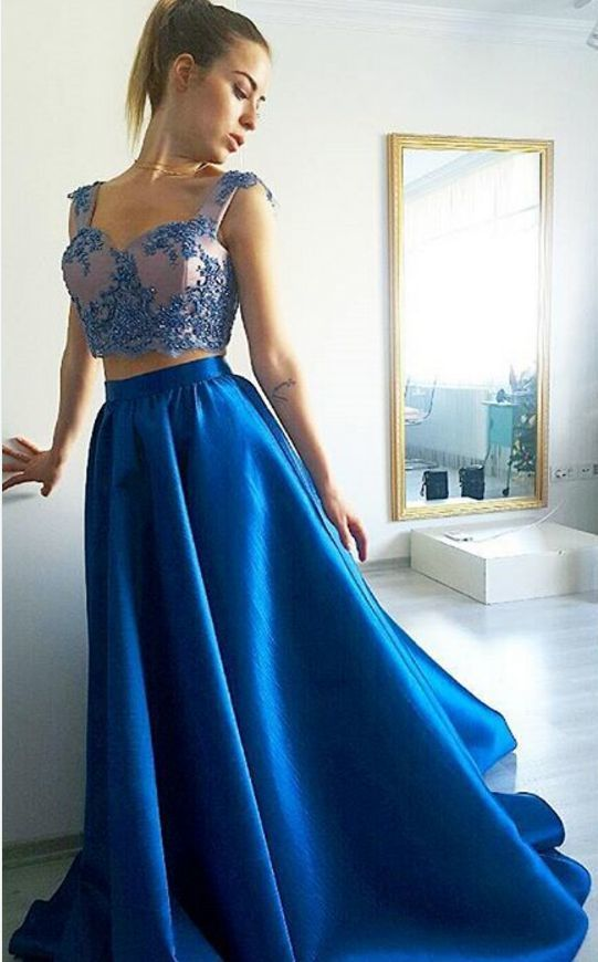 Blue Satin Prom Dress,Two Piece Prom Dress,Long by dresses on Zibbet