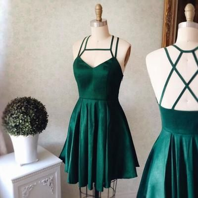 Cute A-line Short Green Prom Dress V-neck Homecoming Dress Satin Evening Dresses