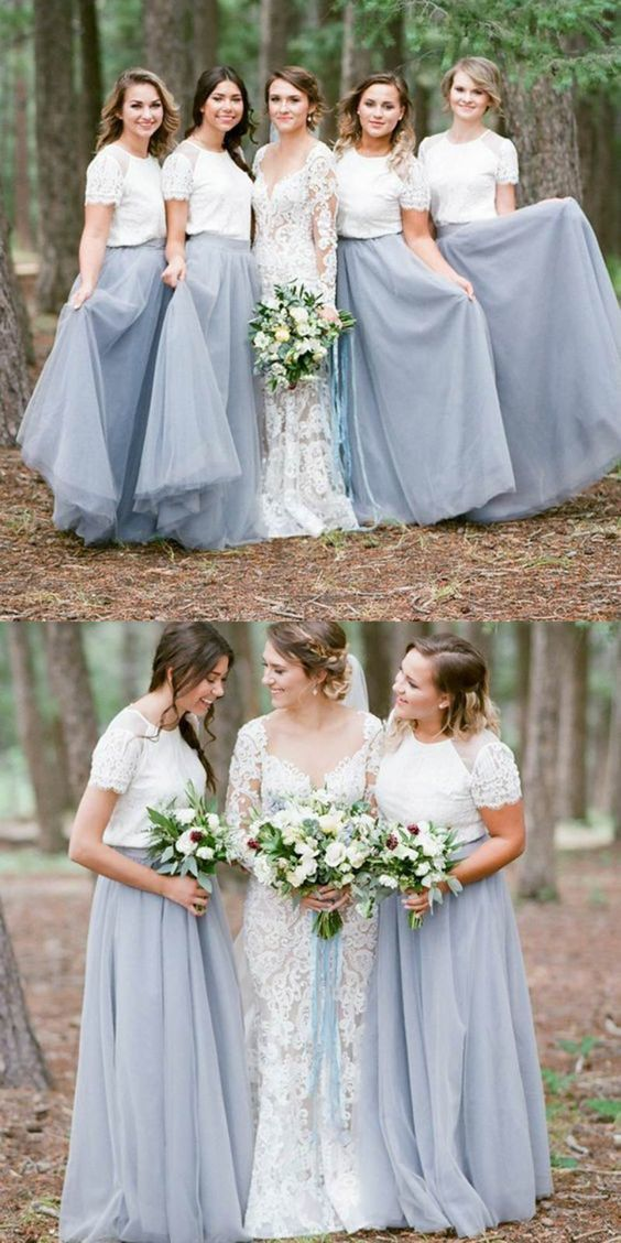 845a5a4bb1bee Long Bridesmaid Dresses with Lace, Bridesmaid Dresses with Short Sleeves,  Modest