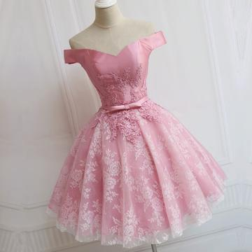 Elegant Pink Lace Appliques Satin Off The Shoulder Homecoming Dress Short Prom