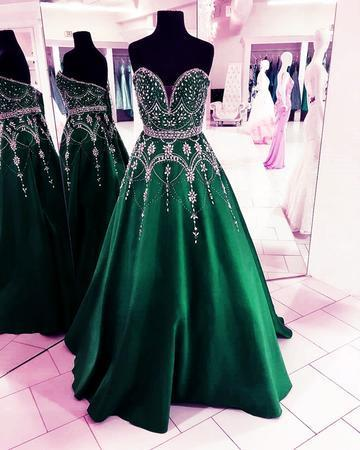 Stunning Sequins Beaded Sweetheart Satin Ball Gowns Prom Dresses 2018