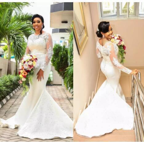 781334984b18 by Miss Zhu Bridal. African Luxury 2018 Mermaid Wedding Dresses Lace  Applique Beads Sequined Long