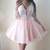 Pink Homecoming Dress,Light Pink Short Prom Dress,Long Sleeves Pink Lace
