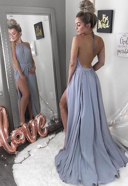 Simple Prom Dresshalter Slit Chiffon Formal Dresses By Dress On
