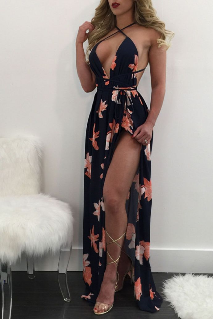 Backless Spaghetti Straps Backless Print Split Evening Dresses Prom Gowns Tulle