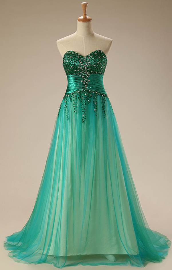 Strapless gown with the green party dress by prom dresses on Zibbet
