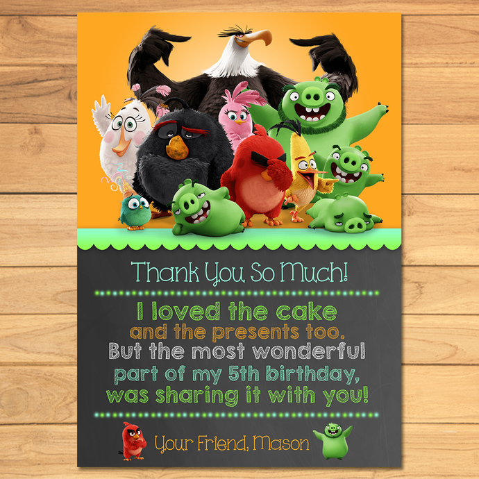 Angry Birds Birthday Thank You Card Chalkboard * Angry Birds Thanks * Angry