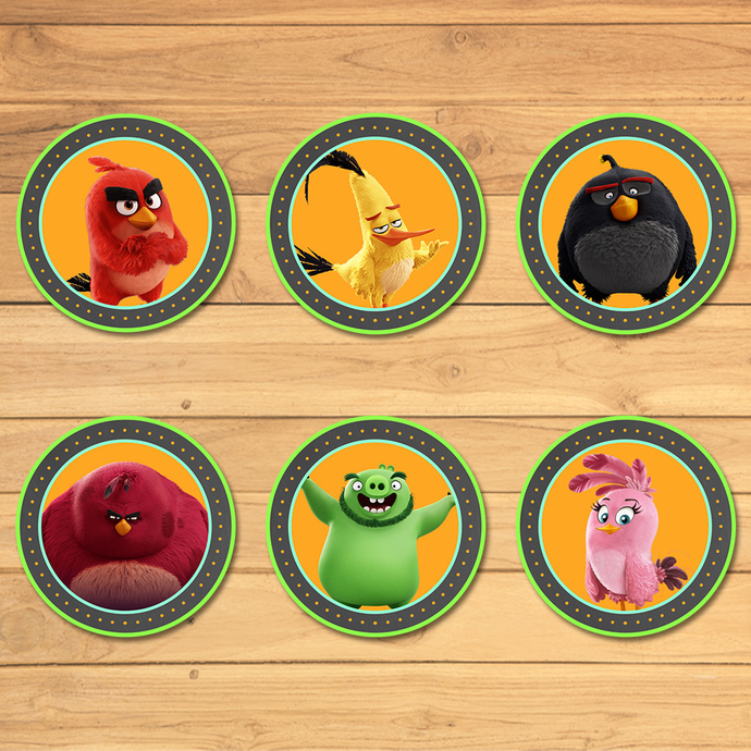 Angry Birds Cupcake Toppers Chalkboard * Angry Birds Birthday * Angry Birds
