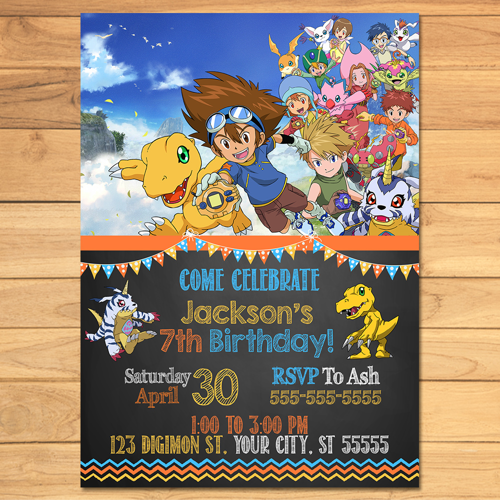 Digimon Birthday Invitation Chalkboard * Digimon Invite * Digimon Birthday * Digimon Party Printables * Digimon Party Favors