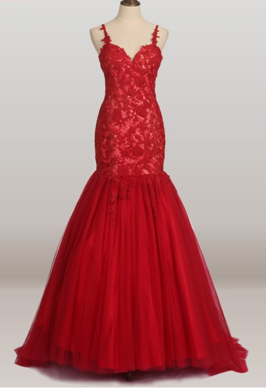 Red gauze mermaid lace wedding gown evening by prom dresses on Zibbet