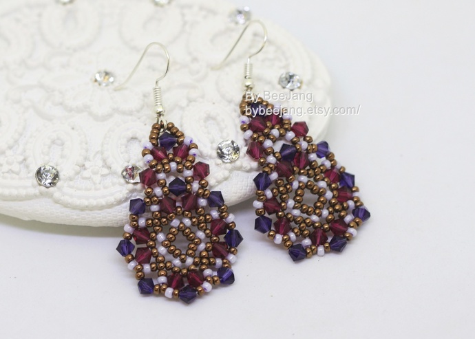 PDF Tutorial - Lilith Earrings Instant download Beadweaving Instruction Beading