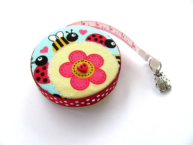 Tape Measure Flowers and Ladybugs Pocket Retractable Tape Measure