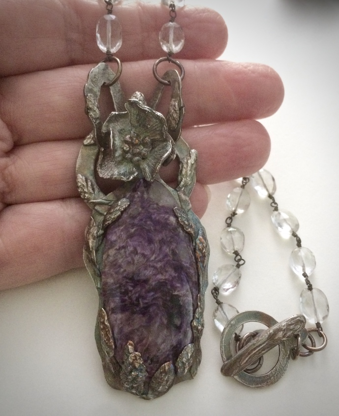 Charoite necklace, OOAK necklace, silver flower pendant, purple stone, beaded