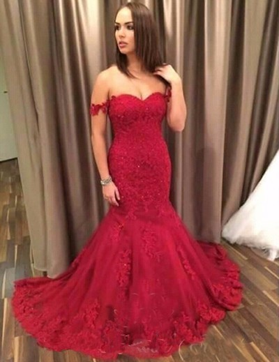 Off Shoulder Red Tulle Wedding Dress, Mermaid Bridal Dress,Lace Appliques