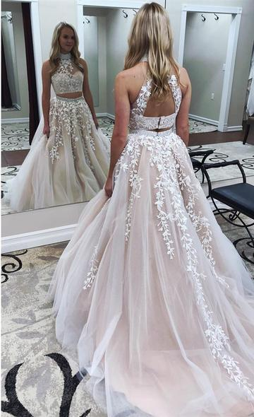 Two Piece Tulle Prom Dress, Sexy Appliques Beaded Prom Dresses