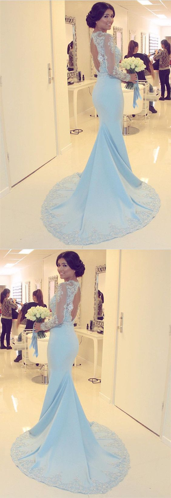 Sexy Lace Mermaid Prom Dress, Appliques Long Sleeve Evening Dress, Formal Gown