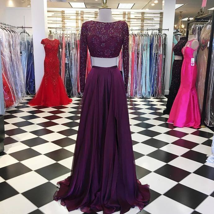 Long Sleeve Evening Dress, Sexy Two Piece Beaded Prom Dress, Formal Prom Dresses