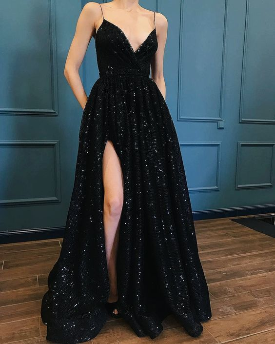 Sexy Spaghetti Straps Black Prom Dress, Long Evening Dress, 2018 Party Dress