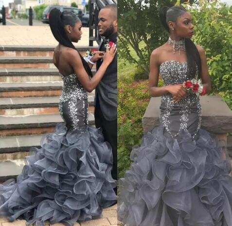 8ba04525b7fa Silver Grey Crystal Mermaid Prom Dresses Long Sweetheart Beading Appliques  Cheap