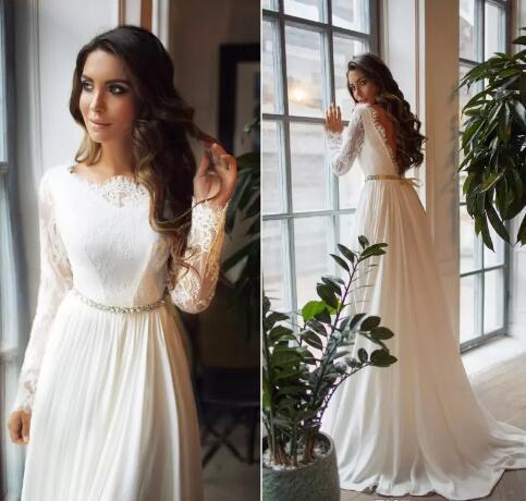 7aeed6f9f7 Chic Long Sleeve Bohemia Beach Wedding Dresses Backless Lace Country Bridal
