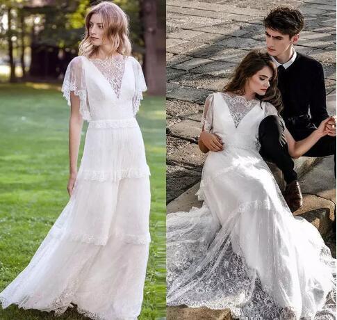 c0d5090ebbd4 White Lace Beach Wedding Dresses Bateau Short Sleeve Country Bridal Gowns  Floor