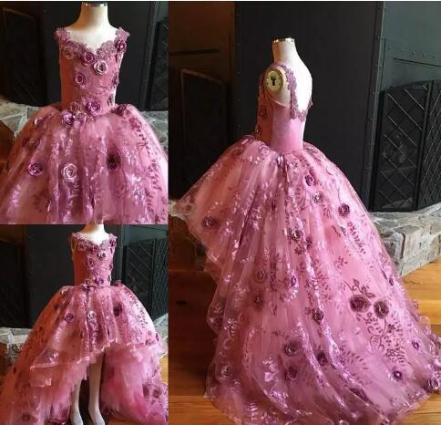 0f962c5a255e High Low Pink Flower Girl Dresses For by Miss Zhu Bridal on Zibbet