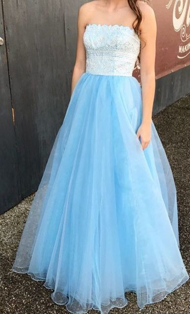 Strapless Tulle Blue Prom Dress, Elegant Long Prom Dresses