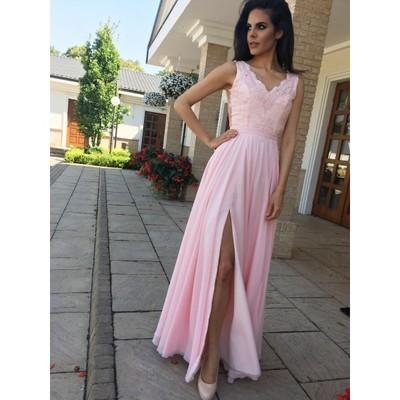 Floor Length Pink Prom Dress, Elegant Split Slit Evening Dress, Formal Dress