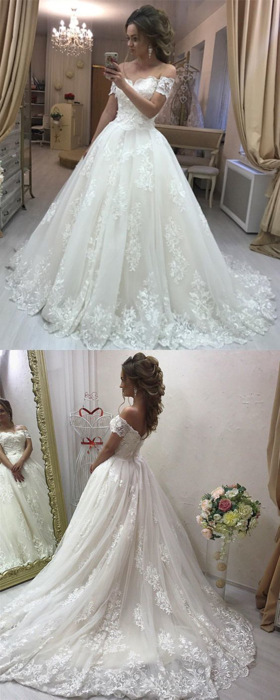 Lace Embroidery Off Shoulder Tulle Wedding By Miss Zhu Bridal On