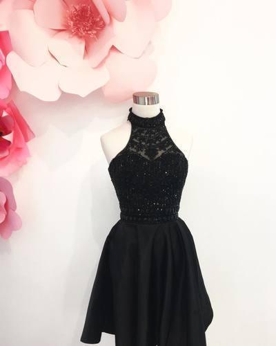 Beaded Black Prom Dress, Satin Short Prom Dresses, Halter Homecoming Dress