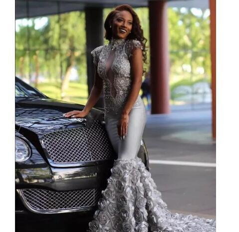 aee69ae6b2c Black Girl Plus Size Formal Prom Dresses High Neck Sexy African Mermaid Lace