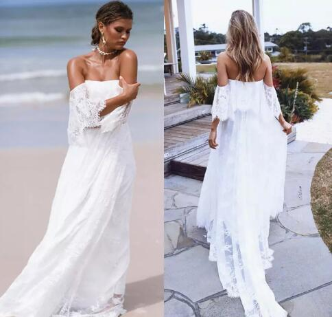 1a8c3b0034 Classy Bohemian Beach Wedding Dresses Backless Off The Shoulder Boho Full  Lace