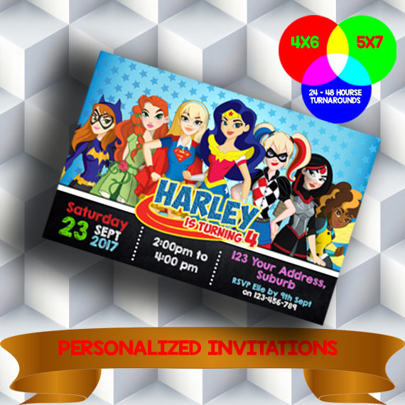 Superhero Girls Invitation Dc Superhero By Pahalakuencana On Zibbet