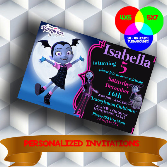Vampirina Invitation. Vampirina Birthday Party. Vampirina Digital Invitation .