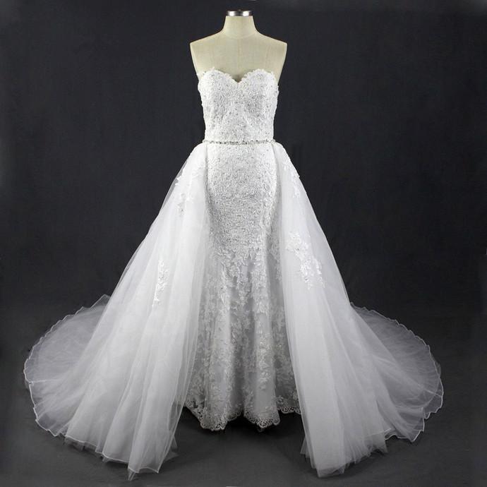 Women's Rhinestone Lace Mermaid Detachable Train Wedding Dresses,Wedding Dresses
