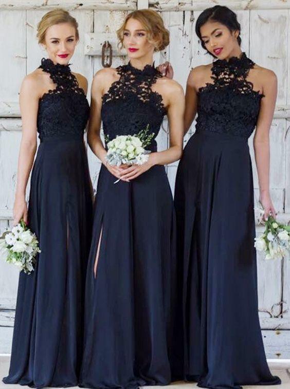 A-Line High Neck Navy Blue Chiffon Bridesmaid Dress with Lace Split