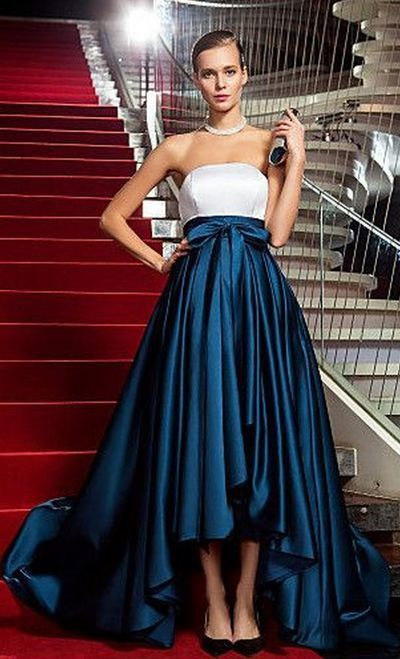 Formal Evening Dress, Noble Evening Dresses, Long Satin Evening Dresses, Blue