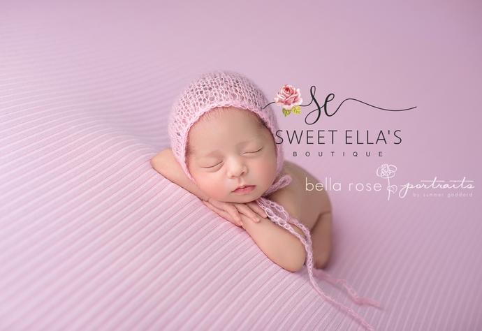 Pink Mohair Newborn Bonnet, Light Pink Baby Hat Photography Prop, Newborn