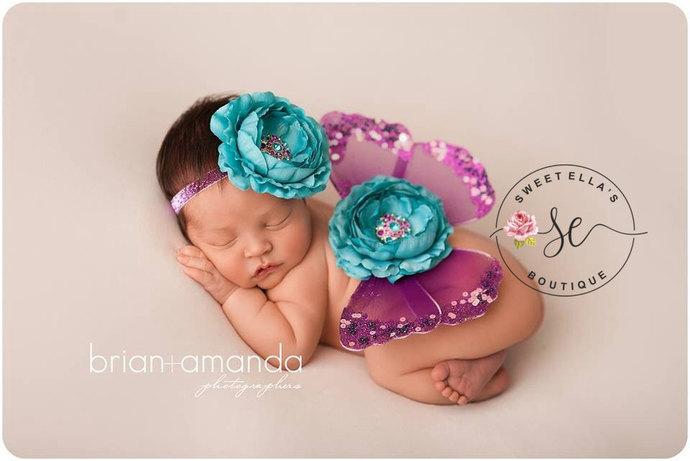 Baby Butterfly Wings, Pink Newborn Wings, Baby Girl Photo Prop, Glitter Wings,