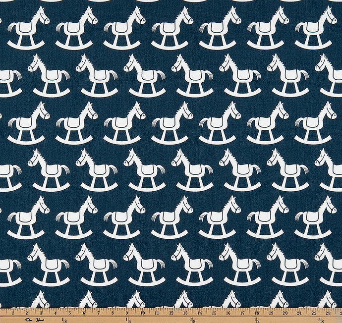 Premier Navy and white  Fabric By Yard. Navy and white  Rocking horse  Premier