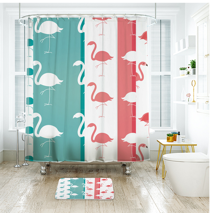 Animal Pink Flamingo 05 Fashion Logo Waterproof Fabric Shower Curtain Bath Mat