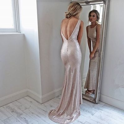 Charming Evening Dress, Sleeveless Long Prom Dresses, Open Back Mermaid Prom