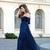 Sexy Off-the-Shoulder Chiffon Half Sleeve Sweetheart Navy Blue Floor Length Prom