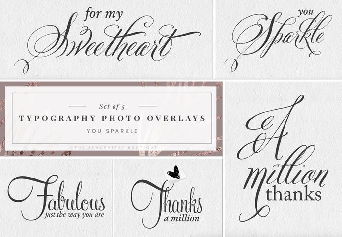 Typography Photo Overlays, Digital Stamps, Instant Download, Sentiments,