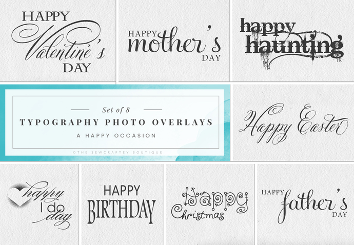 Typography Photo Overlays, Digital Stamps, Instant Download, Photo Overlay,