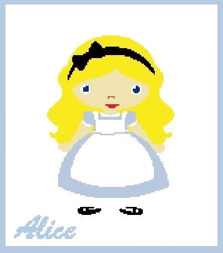Alice in Wonderland Crochet Pattern  (Graph, SC, C2C, Bobble stitch, Tunisian)