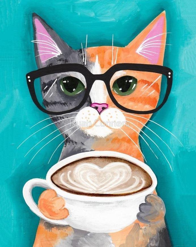 A Latte of Love Calico Whimsical Cat Folk Art Giclee Print 8x10, 11x14